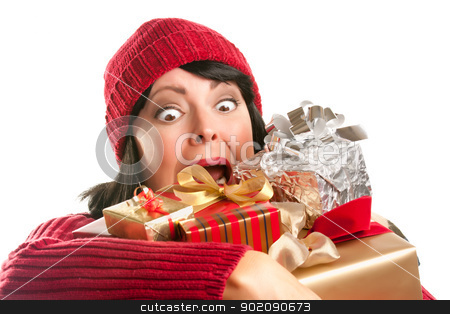 Attractive Woman Fumbling with Her Holiday Gifts stock photo, Attractive Woman Fumbling with Her Holiday Gifts Isolated on a White Background. by Andy Dean