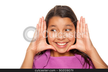 Pretty Hispanic Girl Framing Her Face with Hands stock photo, Pretty Hispanic Girl Framing Her Face with Hands Portrait Isolated on a White Background. by Andy Dean