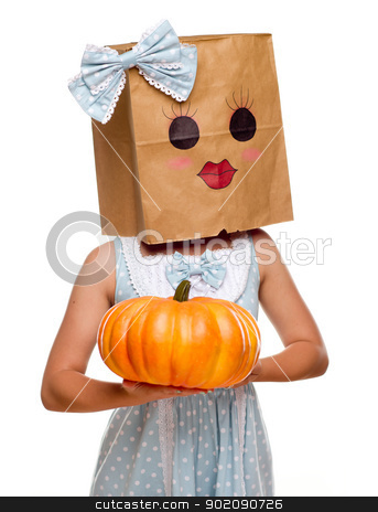 Girl Wearing a Blue Dress and Happy Bag Face stock photo, Girl Wearing a Blue Dress and Happy Bag Face Over Her Head Isolated on a White Background. by Andy Dean