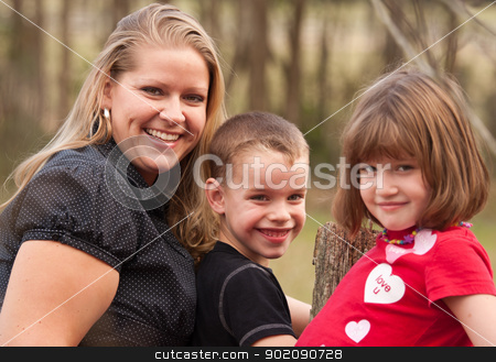 Mother and Children Portrait Outdoors stock photo, Cute Caucasian Mother and Children Portrait Outdoors. by Andy Dean