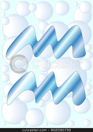Aquarius stock vector clipart, The astrological symbol for the sun sign Aquarius. by Kotto