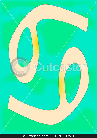 Cancer stock vector clipart, The astrological symbol for the sun sign Cancer by Kotto
