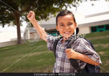 Happy Young Hispanic Boy Ready for School stock photo, Happy Young Hispanic Boy with First in the Air Wearing Backpack Ready for School. by Andy Dean