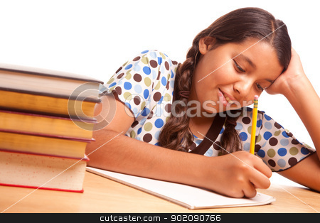 Pretty Hispanic Girl Studying stock photo, Pretty Hispanic Girl Studying Isolated on a White Background. by Andy Dean