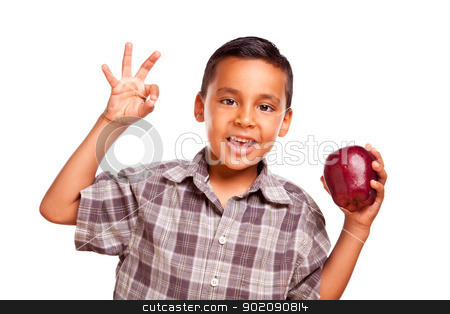 Adorable Hispanic Boy with Apple and Okay Hand Sign stock photo, Adorable Hispanic Boy with Apple and Okay Hand Sign Isolated on a White Background. by Andy Dean