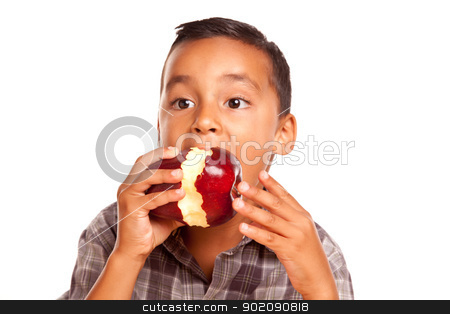Adorable Hispanic Boy Eating a Large Red Apple stock photo, Adorable Hispanic Boy Eating a Large Red Apple Isolated on a White Background. by Andy Dean