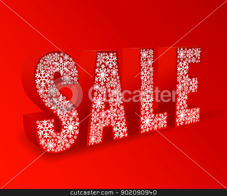 sale stock vector clipart, red background for winter sale by Miroslava Hlavacova
