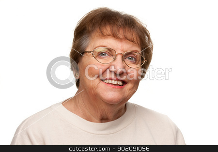 Beautiful Senior Woman Portrait on White stock photo, Beautiful Senior Woman Portrait Isolated on a White Background. by Andy Dean