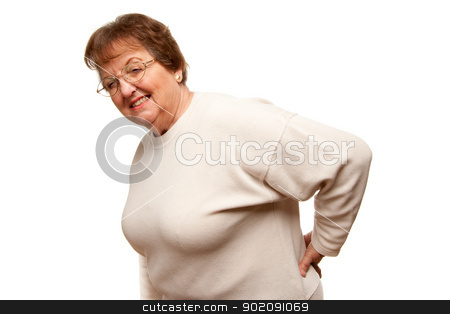 Senior Woman with Backache on White stock photo, Senior Woman with Backache Isolated on a White Background. by Andy Dean