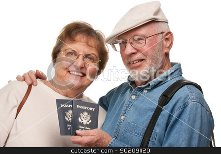 Happy Senior Couple with Passports and Bags on White stock photo, Happy Senior Couple with Passports and Bags Isolated on a White Background. by Andy Dean