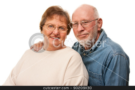 Affectionate Senior Couple Portrait stock photo, Affectionate Happy Senior Couple Pose For A Portrait. by Andy Dean