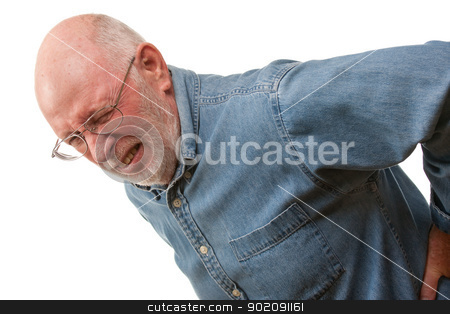 Senior Man with Hurting Back on White stock photo, Agonizing Senior Man with Hurting Back on a White Background. by Andy Dean