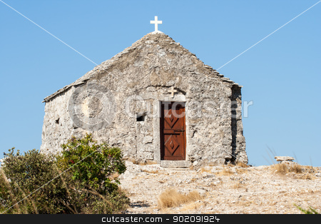little chapel on the mountain stock photo, small chapel on top of the mountain by Jozsef Demeter