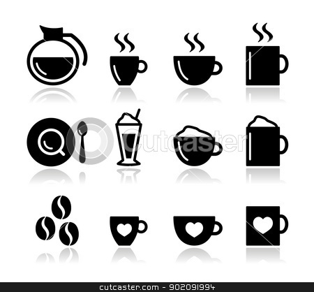 Coffee icon set - vector stock vector clipart, Black coffee icons set isolated on white - coffee beans, mug, cup, types of coffee by Agnieszka Murphy