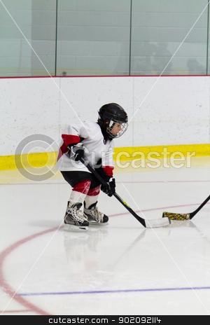 Little boy playing ice hockey stock photo, Little boy playing ice hockey by Click Images