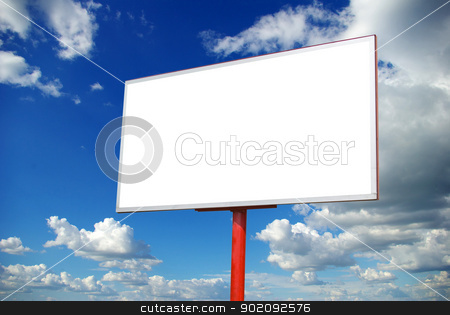 billboard on sky stock photo, advertising billboard on sky background by Vitaliy Pakhnyushchyy