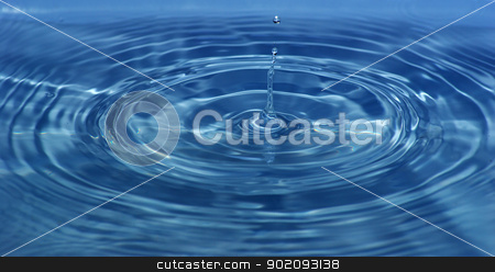 water splash stock photo, The round transparent drop of water falls downward by Vitaliy Pakhnyushchyy