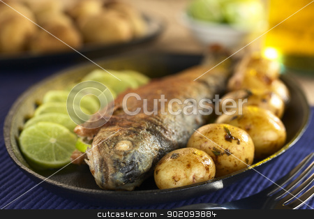 Fried Trout stock photo, Fried trout with lime slices and potatoes with parsley in lime juice (Selective Focus, Focus on the eye of the fish) by Ildi Papp