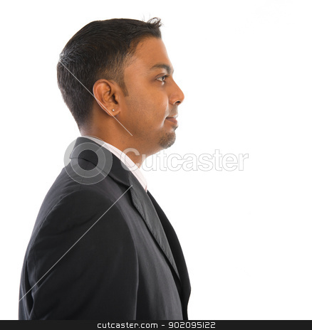 Side view of Indian male stock photo, Side view of an 30s Indian male profile isolated on white by szefei