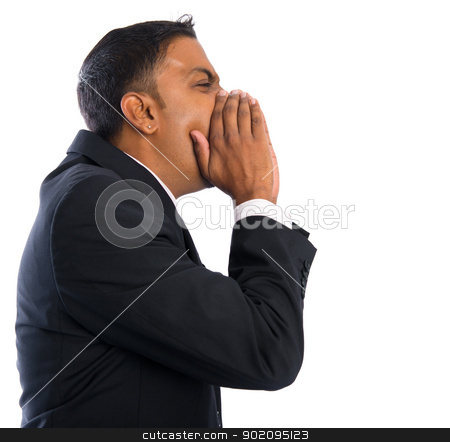 Indian businessman shouting stock photo, Side view of Asian Indian businessman shouting over white background by szefei