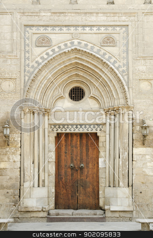 mosque door in cairo egypt stock photo, old mosque door in cairo egypt by travelphotography