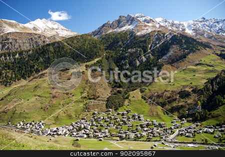 vals village in switzerland alps stock photo, vals village in switzerland alps with alpine mountain landscape by travelphotography