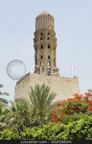 minaret at bab al-futuh in cairo egypt stock photo, minaret at bab al-futuh in cairo egypt by travelphotography