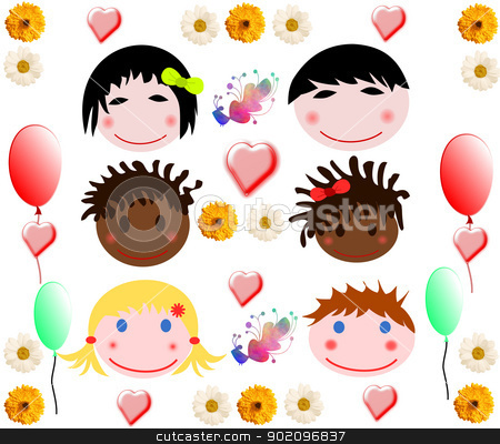 Collection of merry baby faces of different races on a white background stock photo, Collection of merry baby faces of different races on a white background by tanu666a