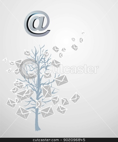 Christmas tree from emails stock photo, Christmas tree from emails on gray by graciela rossi