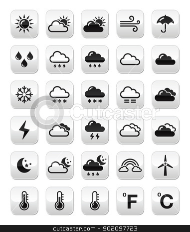 Weather forecast buttons set stock vector clipart, Weather icons set on modern grey buttons - weather conditions, seasons with reflection by Agnieszka Bernacka
