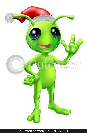 Christmas alien stock vector clipart, Illustration of a cute cartoon little green man alien mascot with Santa hat Christmas outfit smiling and waving by Christos Georghiou