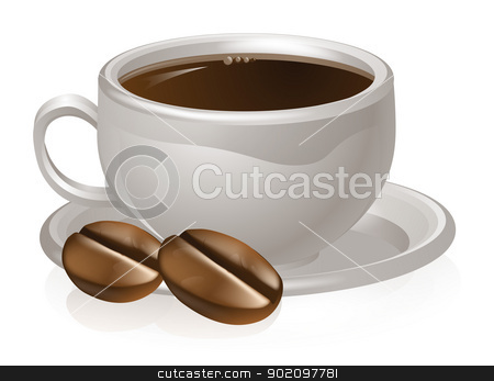 Cup of coffee and beans stock vector clipart, Illustration of a cup of coffee and coffee beans with white coffee cup and saucer by Christos Georghiou