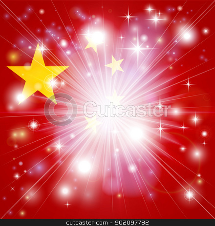 Chinese flag background stock vector clipart, Flag of China background with pyrotechnic or light burst and copy space in the centre by Christos Georghiou