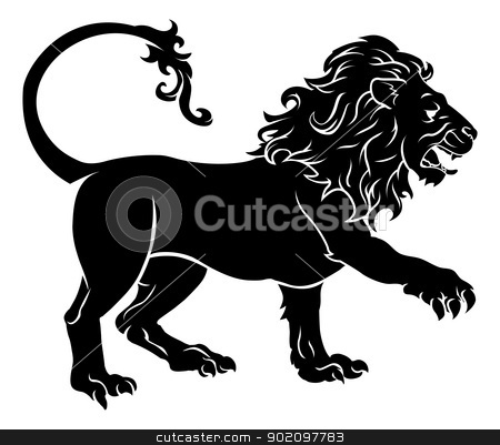Stylised Lion illustration stock vector clipart, An illustration of a stylised black lion perhaps a lion tattoo by Christos Georghiou
