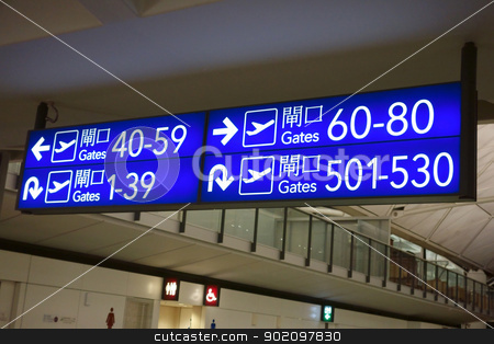 Boarding gates signs stock photo, Boarding gates signs in Hong Kong airport by Ingvar Bjork