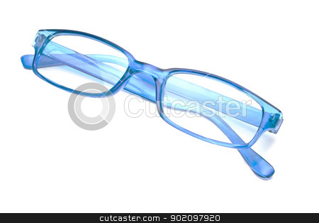 Blue glasses  stock photo, Beautiful blue glasses closeup on white background   by Ingvar Bjork