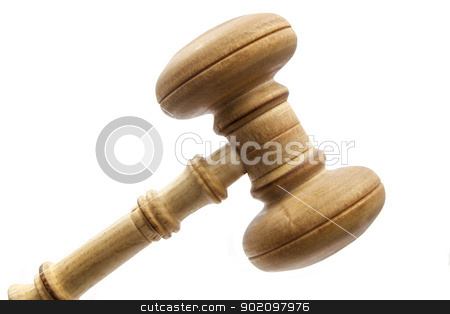 gavel stock photo, gavel isolated on white background  by Ingvar Bjork
