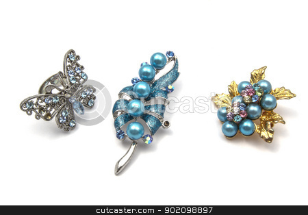 Beautiful  Brooch stock photo, Beautiful  Brooch Isolated On White background  by Ingvar Bjork