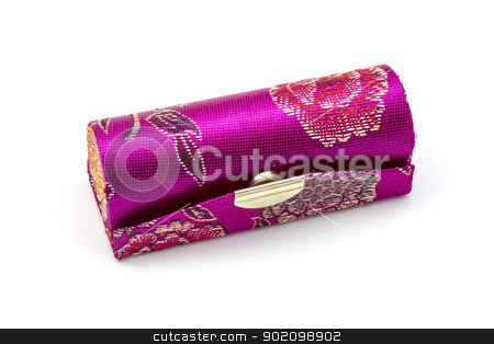lipstick case  stock photo, Beautiful lipstick case isolated on white background by Ingvar Bjork