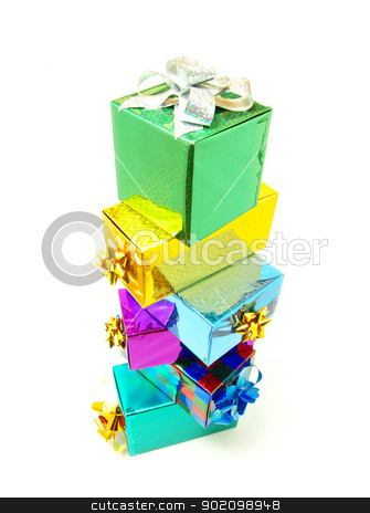 gifts  box stock photo, Christmas box gifts with satin bow isolated on white background by Vitaliy Pakhnyushchyy