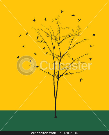 Leafless tree with birds silhouettes stock vector clipart, Conceptual graphic illustration with a leafless winter tree silhouette and birds. by Richard Laschon