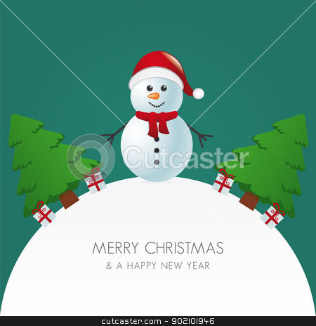 snowman hat christmas tree and gift stock vector clipart, snowman hat christmas tree and gift world by d3images