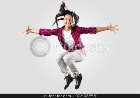 The Dancer stock photo, Young hiphop dancer making a move on white by Sergey Nivens