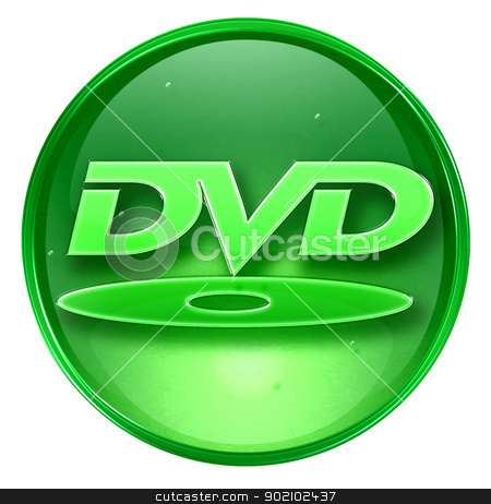 DVD icon green, isolated on white background.  stock photo, DVD icon green, isolated on white background.  by Andrey Zyk