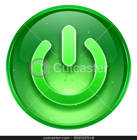 power button green, isolated on white background. stock photo, power button green, isolated on white background. by Andrey Zyk