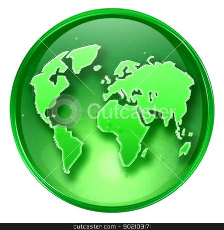 world icon green, isolated on white background.  stock photo, world icon green, isolated on white background.  by Andrey Zyk