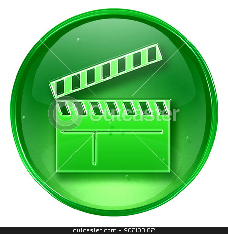 movie clapper board icon green, isolated on white background. stock photo, movie clapper board icon green, isolated on white background. by Andrey Zyk