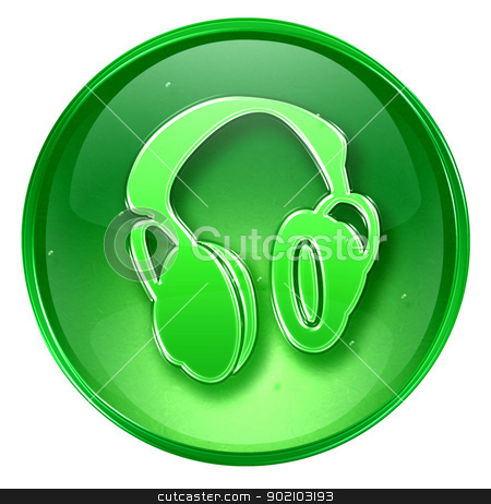 headphones icon green, isolated on white background. stock photo, headphones icon green, isolated on white background. by Andrey Zyk