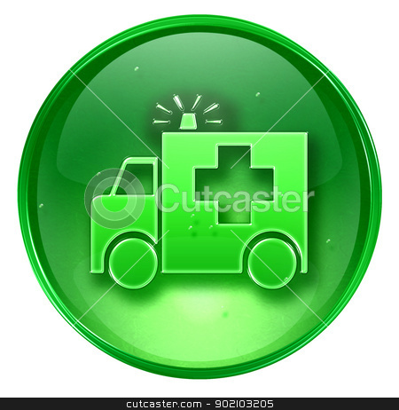 First aid icon green, isolated on white background. stock photo, First aid icon green, isolated on white background. by Andrey Zyk