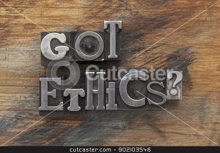 Got ethics question stock photo, Got ethics question in vintage letterpress metal type on a grunge painted wood background by Marek Uliasz